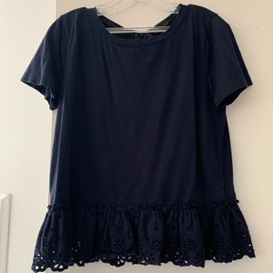J. Crew Navy Peplum Lace top